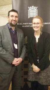 Paul Iganski and Cat Smith MP for Lancaster & Fleetwood, and member of the All-Party Parliamentary Group against Antisemitism, at the Winter Reception.